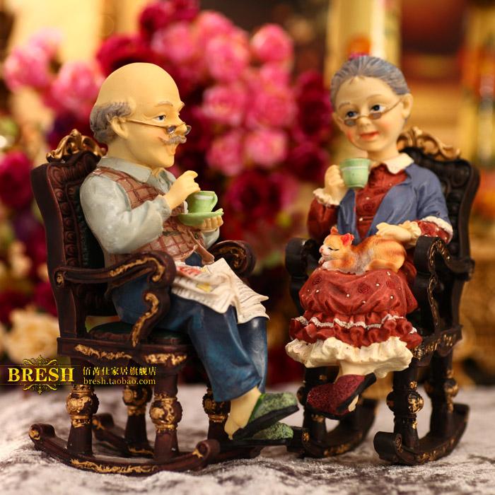 爆款结婚生日礼物摇椅两件套田园家居客厅摆件创意时尚礼品