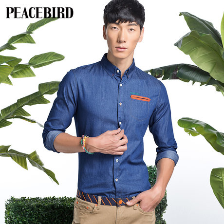 Peacebird new spring 2014 men's fashion cowboy B2CA3161850 long-sleeved shirt
