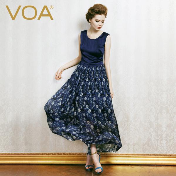 VOA真丝新款连衣裙碎花长裙女夏欧美大牌沙滩裙桑蚕丝背心裙A0208