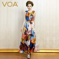 VOA 2014欧美真丝连衣裙长裙 夏新款显瘦桑蚕丝沙滩背心长裙A0207