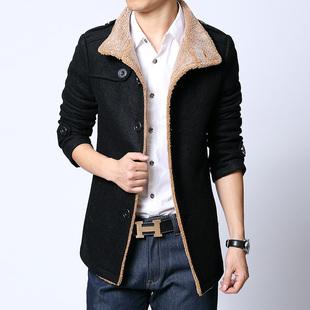 男士呢大衣韩版修身羊毛呢子大衣 男装休闲单排扣大衣英伦男外套