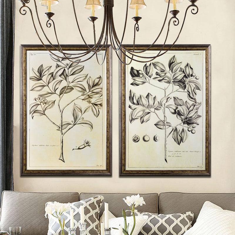 奇居良品 进口欧美式植物装饰画两套特价