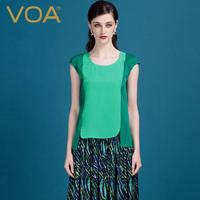 VOA真丝女t恤丝绸套衫 2014夏季拼接撞色修身桑蚕丝打底衫B1126