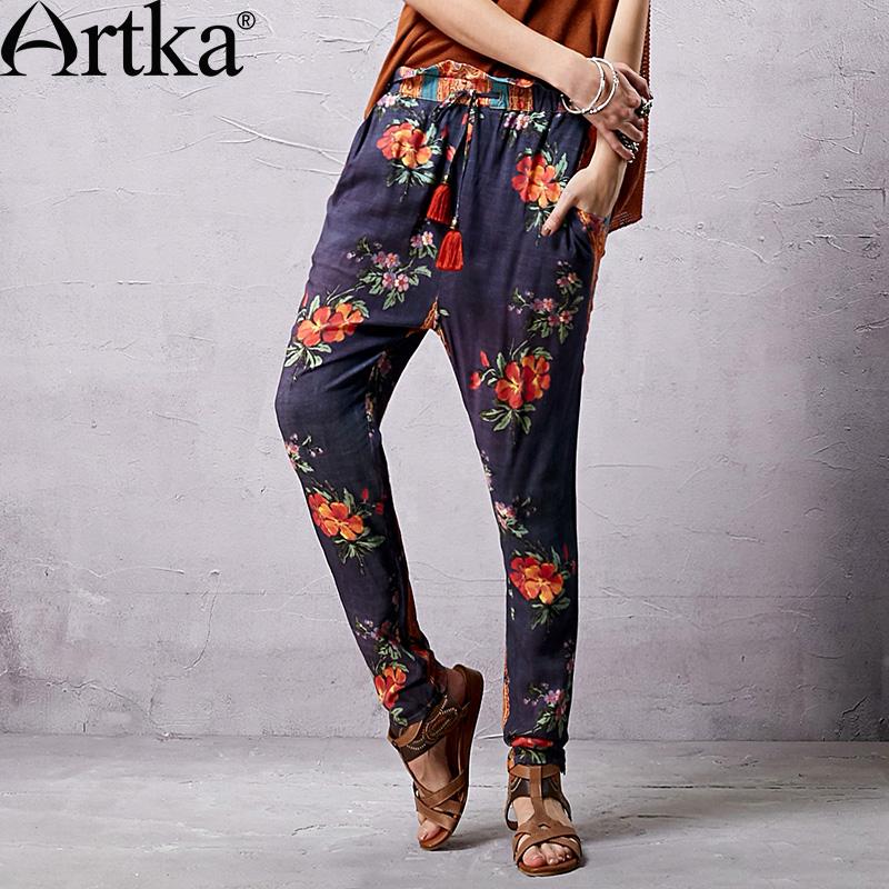 Яркие брюки в индийском стиле с широким поясом и кистями