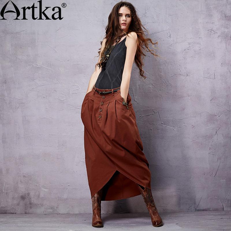 Оригинальная юбка в стиле бохо с асимметричным низом, украшенная пуговицами