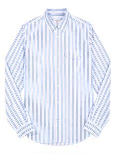 男士双条纹长袖衬衫