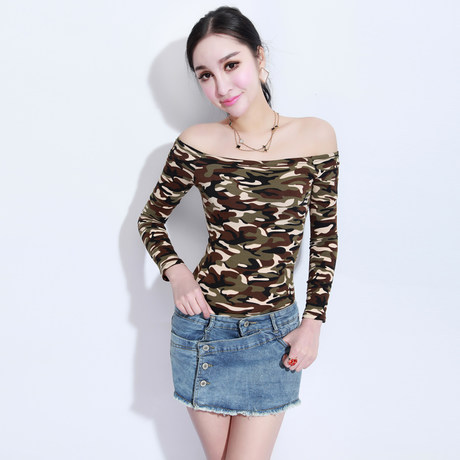 Paragraph in the spring of 2014 the new long sleeve T-shirt female word brought the dew shoulder cultivate one's morality show thin coat camouflage Europe stand