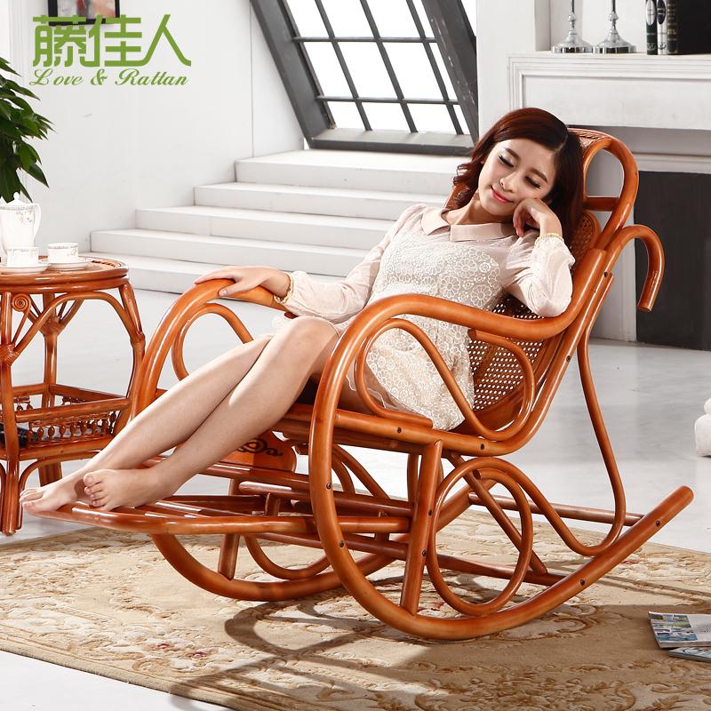 藤才子 摇摇椅躺椅折叠椅午休椅阳台清闲椅印尼自然藤椅藤摇椅