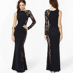 [会员专属价] RICHCOCO欧美性感不对称蕾丝拼接单肩袖拖地长裙连衣裙包邮D370