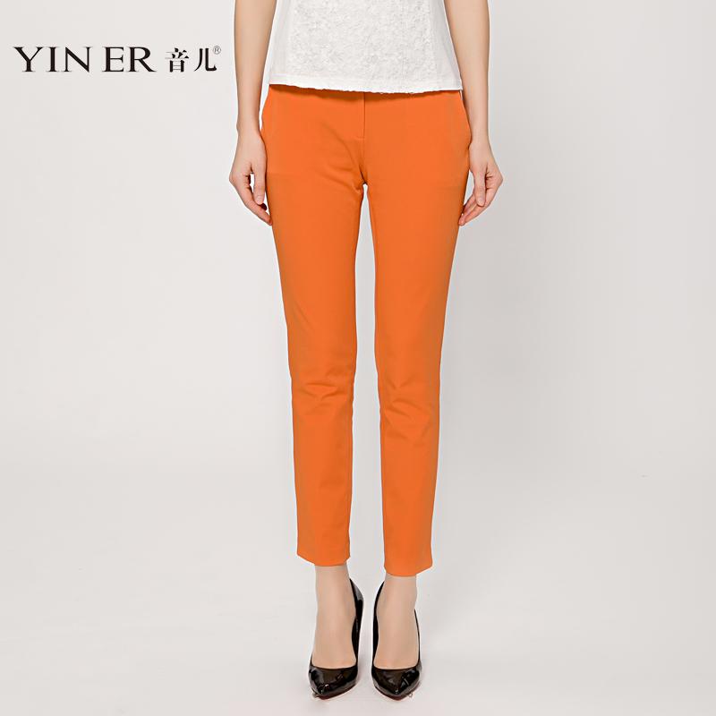 YINER音儿影儿 专柜正品2014流行高端品牌橙色小脚裤83120080