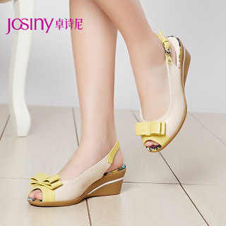 Zhuo Shini summer styles casual sandals in the fish mouth bow buckle wedge women shoes 142134130