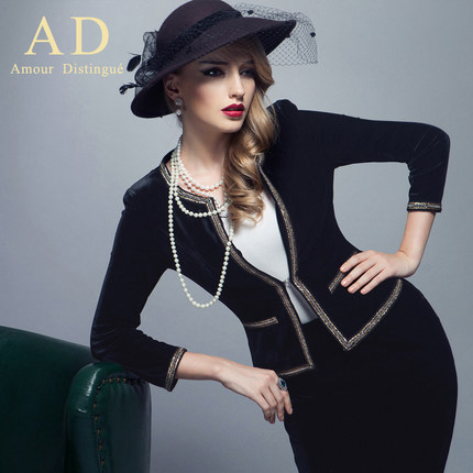 AD elegant small perfume velvet clothing dress 2014 early autumn new suit fashionable ol temperament slip Europe and the