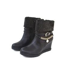 [清仓大甩卖] 达芙妮专柜正品圆头坡跟侧拉链绒面链子女短靴 1013605045