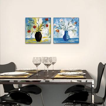 现代简约家居抽象油画三联画 拍下9.9包邮