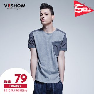 Viishow2015 summer styles solid crewneck short sleeve t-shirt men's contrast color cotton t shirts slim short sleeve