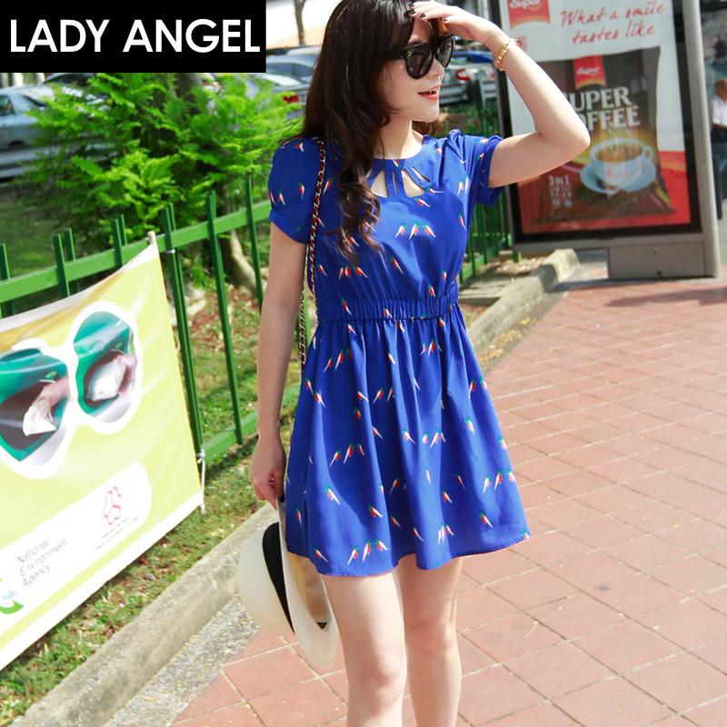 呛口小辣椒2015夏季新款时尚韩版 印花短袖连衣裙