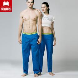 螃蟹秘密情侣睡裤 梭织宽松家居长裤男士女士100%纯棉印花居家裤