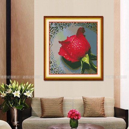 Diamond Crystal painting the living room 5D stitch embroidery round diamond paste diamond drill drip painting festive bedroom painted roses