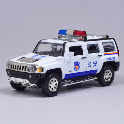 Hummer H3 Hummer car model police car model sound and light version of alloy pull back car CAIPO 1:32