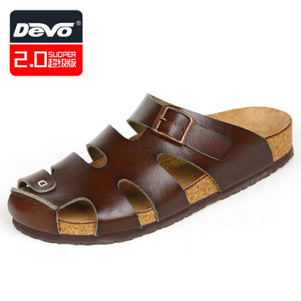 6a890cbb46bb Get Quotations · devo cork slippers men s summer new casual Birkenstock 2.0  back of the plastic slippers lazy drag