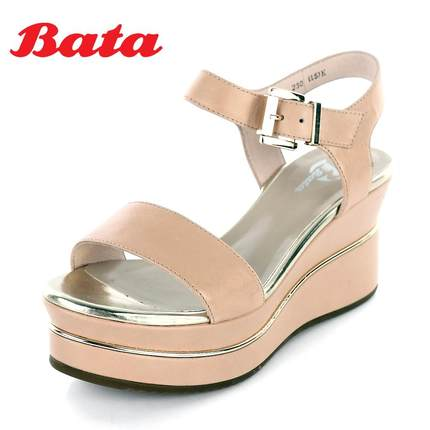 9456896f067e BATA sheepskin summer sandals female slope with high-heeled leather shoes  waterproof 2014 AYP03BL4 Toe