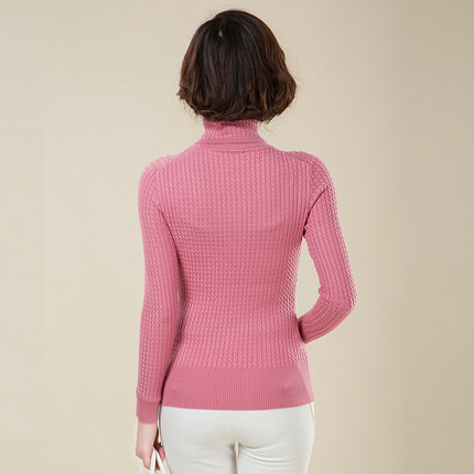2014 new winter Ms. Slim thin sweater with high collar sweater thick twist hedging short paragraph bottoming shirt