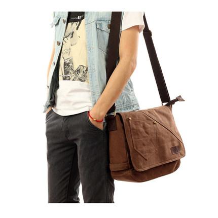 Man bag canvas shoulder bag man messenger bag leisure bag diagonal package British retro package tide bag Korean backpack