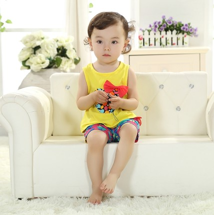 ffd7d81583ecf Buy Summer Infant clothing 0-1 years old baby girl summer suit vest ...