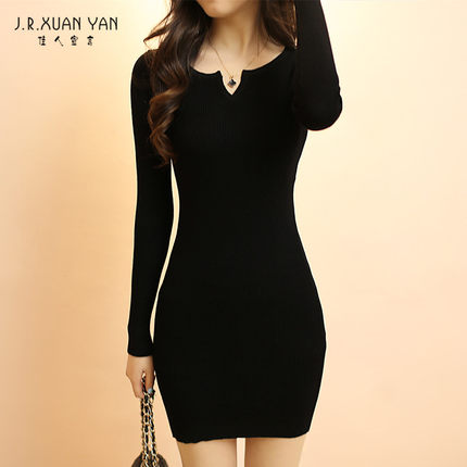 f8eb50d260a Get Quotations · 2014 new winter long-sleeved knit shirt bottoming Slim was  thin and long sweater dress