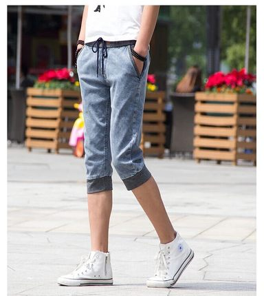 2014 summer new Korean men's Slim denim shorts pant pants breeches feet 7 pants male tide