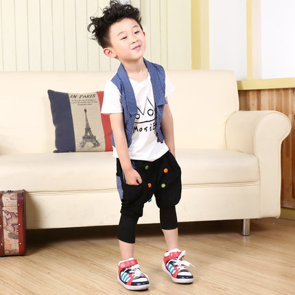 2014 new children's summer children's clothing boys tide 2-3-4-5-7-8-9 old boy harem pants short-sleeved suit