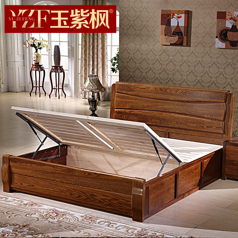 Elm modern minimalist all- wood bed 1.8 m high pressure double bed storage box bed 1.5 Chinese furniture bed