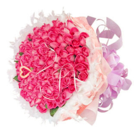 Girlfriend lover anniversary flower delivery Beijing Shanghai Tianjin city of Shangrao florist delivery 99 pink roses