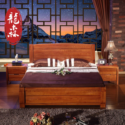 Attirant Ronson Furniture Elm Wood Bed Bed Bed Old Elm Chinese Double Bedroom New  Chinese Classical IKEA