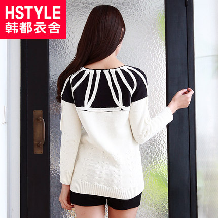 Korean homes have clothes Korean version of the new winter 2014 women's twist stitching hedging raglan -sleeved sweater HH4179 Na