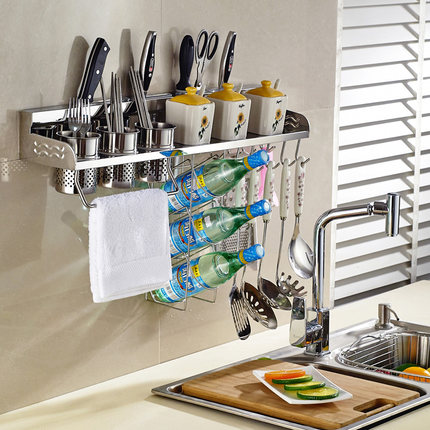 Get Quotations · 304 Stainless Steel Kitchen Shelving Storage Rack  Seasoning Rack Turret Wall Shelves And Kitchen Utensils