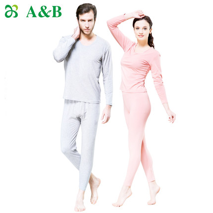 Get Quotations · AB autumn and winter underwear modal and cotton round neck  thin models male and female couple 6aab12c05