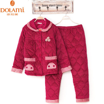 Multi- Latin coral velvet quilted winter pajamas female models thick long-sleeved three- plus fertilizer XL tracksuit suit