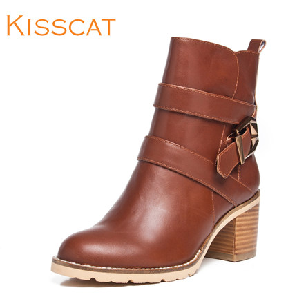KISSCAT kissing cat 2014 autumn new women's shoes ably handsome boots thick with commuter D44506-02