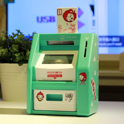 Children Mini ATM Automatic Teller Machine Toy locks touchscreen piggy piggy bank ATM
