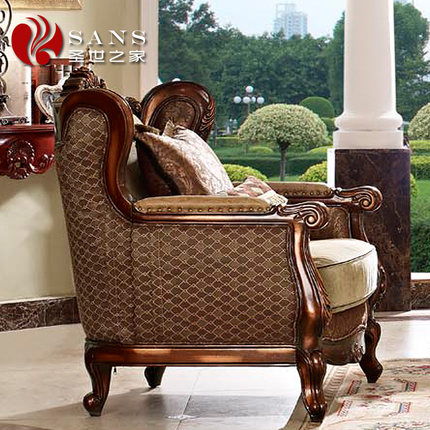 Get Quotations · European Style Living Room Sofa Fabric Sofa Combination Of  Solid Wood Furniture, Leather Sofa