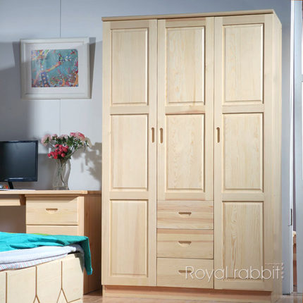 All solid wood pine rabbit royal wardrobe combination IKEA wardrobe drawer two three three whole wooden wardrobe