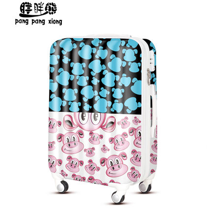 Bear fat lady Trolley printing personalized dog boarding luggage suitcase caster drag me FD087