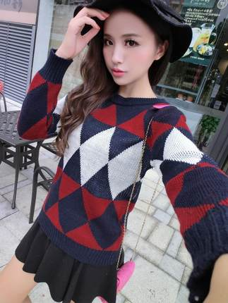 British style retro geometric diamond spell color sweater women new winter hedging thick sweater blouse College Wind