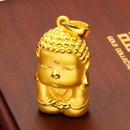 54843b79c Get Quotations · Easy goldsmith 999 gold Buddha Golden Buddha Meng Q  version of 3D hard gold Buddha pendant