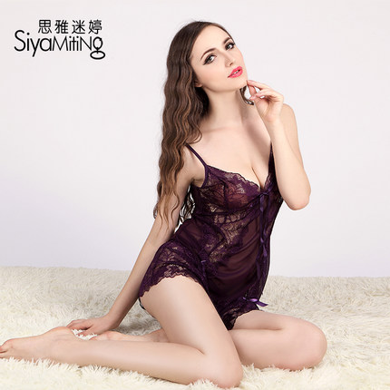 Gather mesh lace suspenders Lingerie Set Contains Adult hot autumn and winter underwear transparent sexy pajamas female