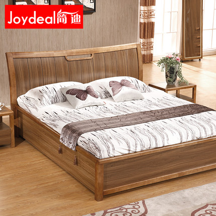Buy jane di modern wood bed double bed 1 8 m high box for Wooden box bed image