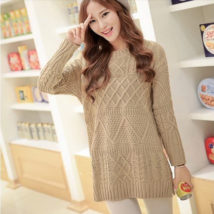 de6bd90fc69 Korean fall and winter long sweater dress College Wind hedging loose knit  sweater dress female twist