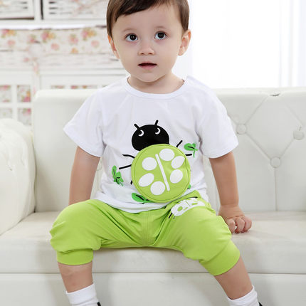 053590a2 New female baby bear Gaga Boys Boys summer clothes summer one year old baby  clothes 1