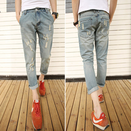 Nine holes in jeans male Korean summer thin section feet nine points jeans pants tide male adolescent male